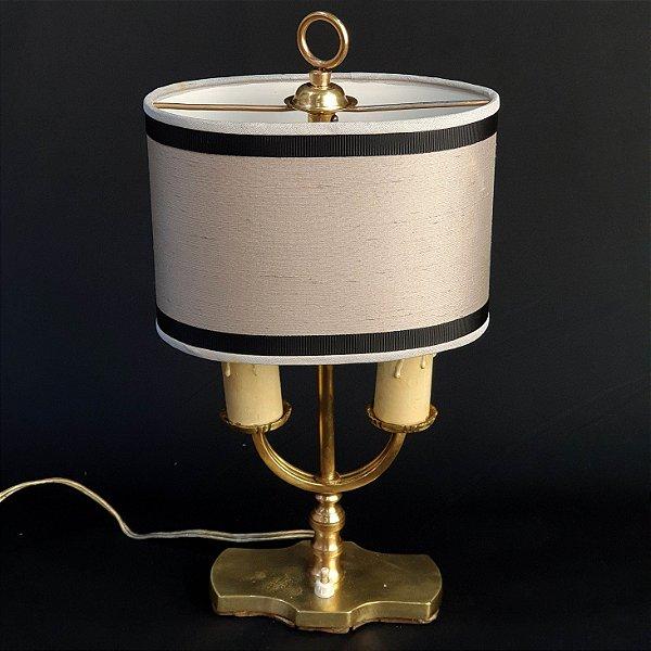 Luminária de Mesa Abajur em Bronze 2 Lâmpadas
