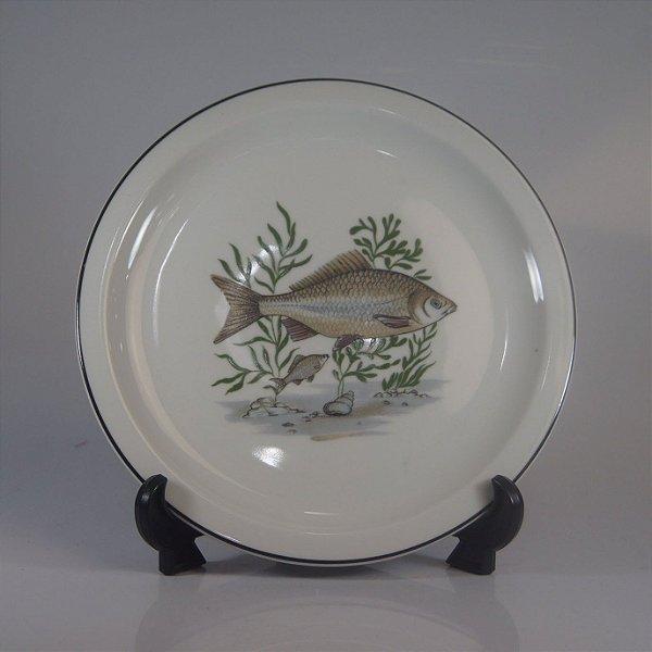 Prato em Porcelana Real Decorado em Peixes