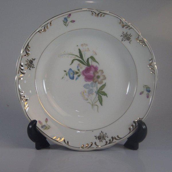 Prato em Porcelana Schimidt Decorado Floral