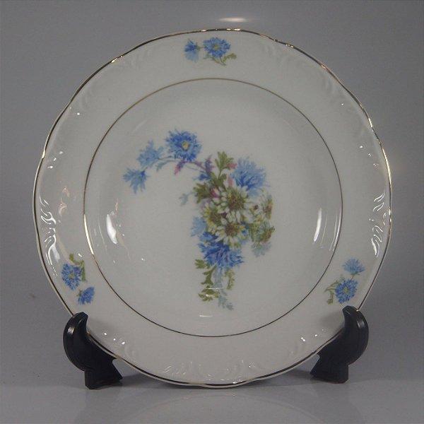 Prato em Porcelana Schmidt Decorado em Flores Azuis