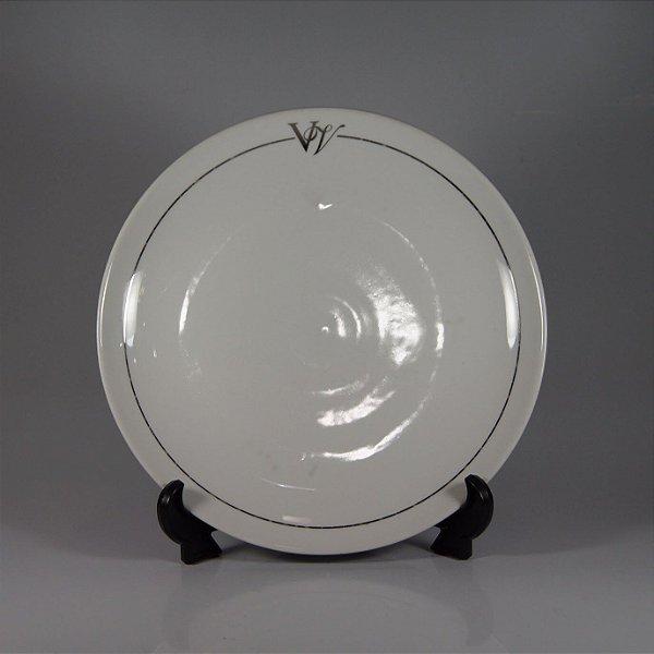 Prato em Porcelana Schimidt Filetado em Prata