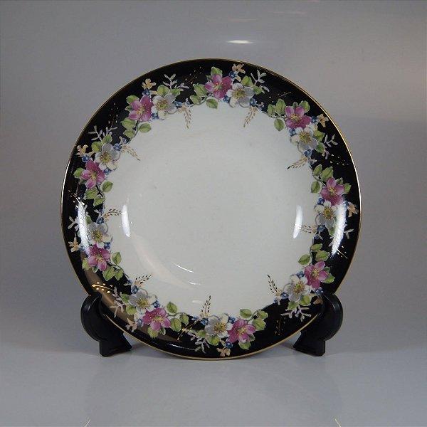 Prato em Porcelana Steatita Floral Preto