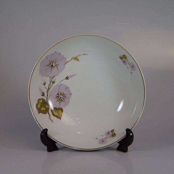 Saladeira em Porcelana Steatita Floral Filetada em Ouro