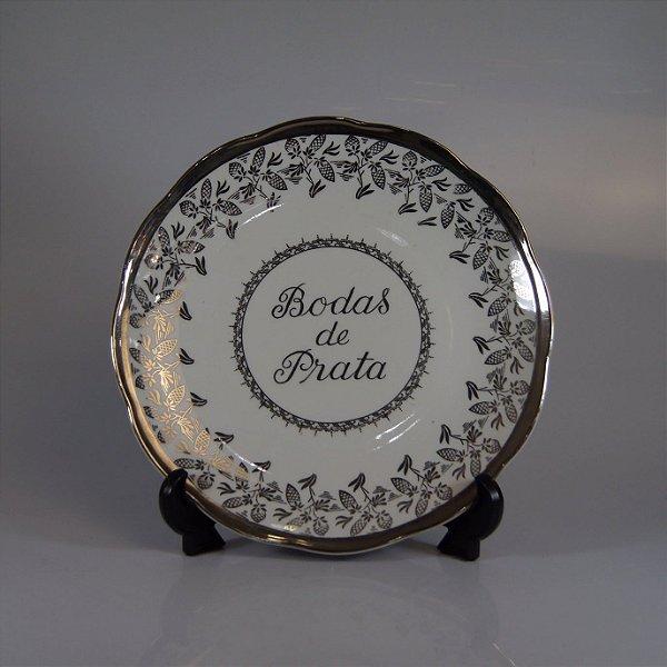 Prato em Porcelana Steatita Bodas de Prata Filetado em Prata
