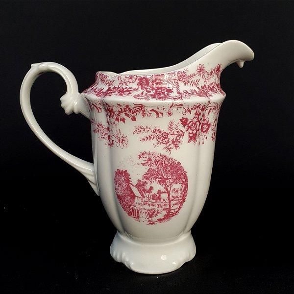 Leiteira Em Porcelana Real Rosa Motivo Inglês