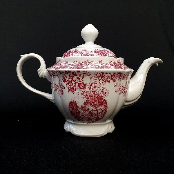 Bule Em Porcelana Real Motivo Inglês Rosa