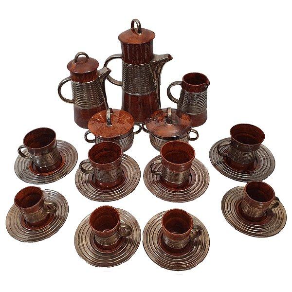 Conjunto De Café E Chá Cerâmica Artesanal Viki Com Dourament