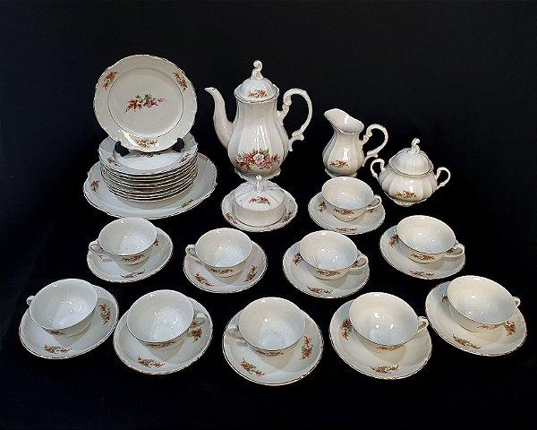 Jogo Chá Em Porcelana Steatita Motivo Flores