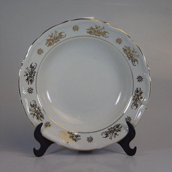 Prato em Porcelana Steatita Filetado em Ouro