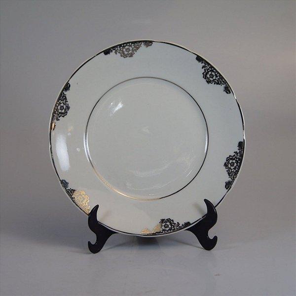 Prato de Sobremesa em Porcelana Real Filetado em Prata