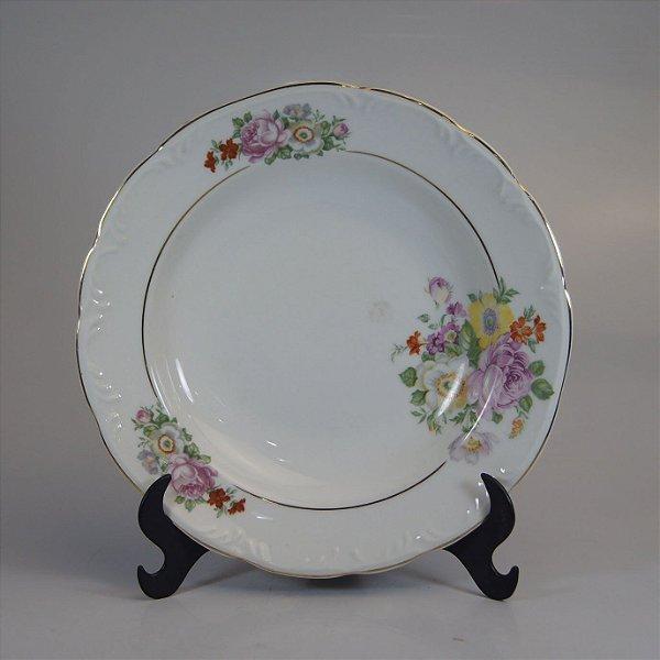 Prato em Porcelana Schmidt Decorado em Flores