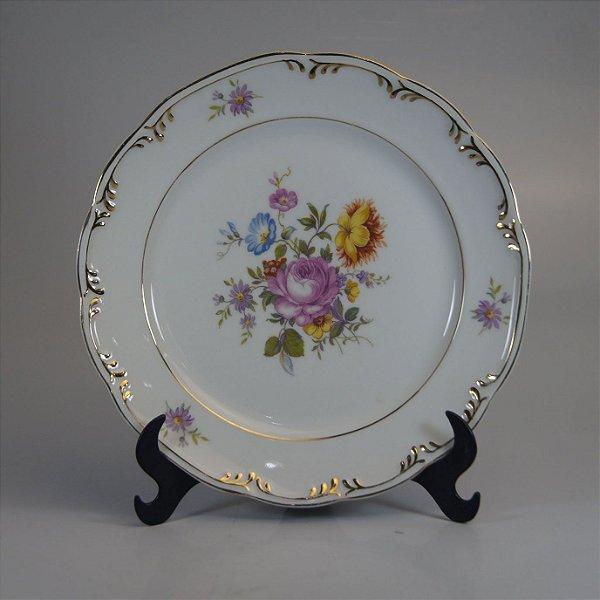 Prato para Bolo em Porcelana Schmidt Decorado Floral