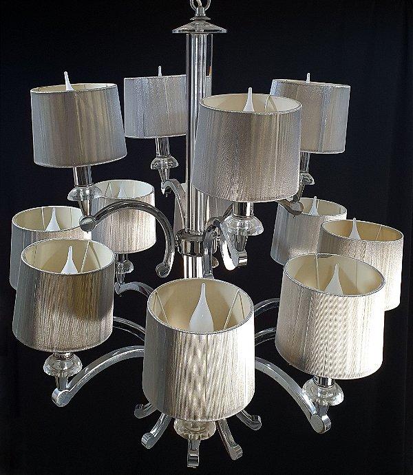 Lustre Com 12 Braços Em Cristal Estilo Vintage