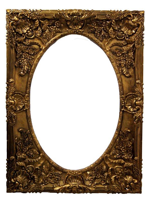Moldura Oval Em Madeira Estilo Luis XV Dourada 121x90cm