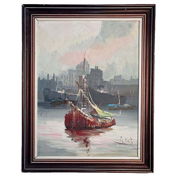Quadro Pintura A Óleo Marinha Barco - Zilfer 54x40cm