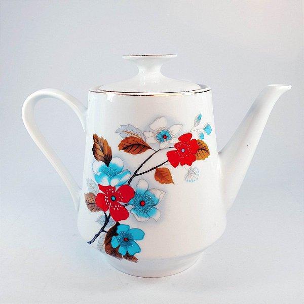 Bule Para Chá em Porcelana Real Filetado em Ouro