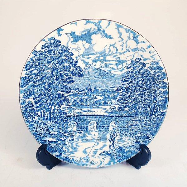 Pires em Porcelana Inglês Azul Bridge Scenes