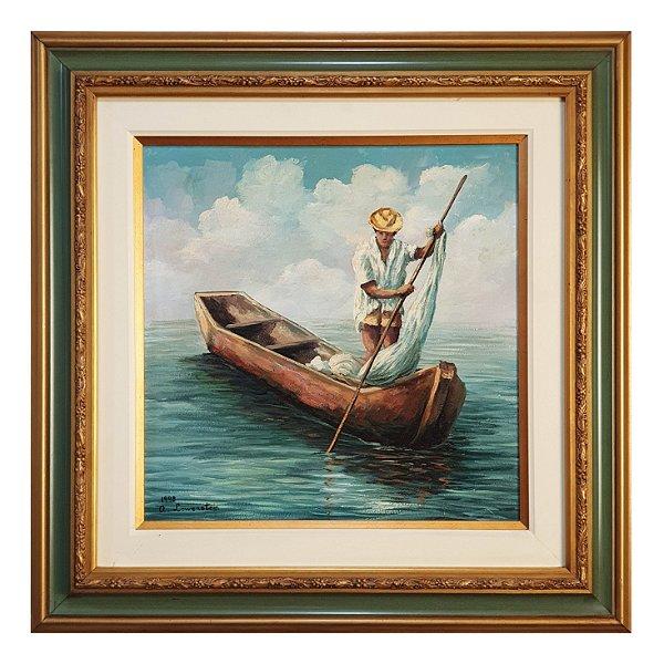 Quadro Pintura Óleo Pescador - A. Lowenstein 98
