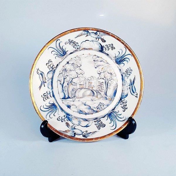 Prato Decorativo Porcelana Pintado À Mão Schmidt 1954