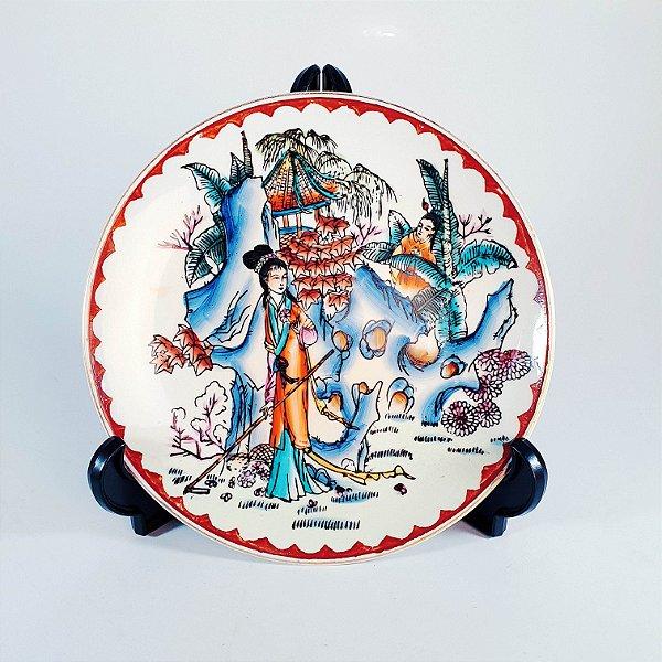 Prato Decorativo em Porcelana Pintado À Mão