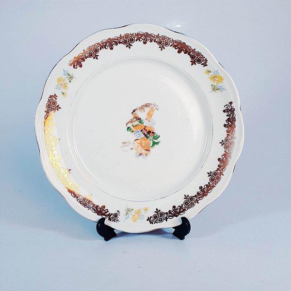 Prato de Sobremesa em Porcelana Steatita Estampa Infantil