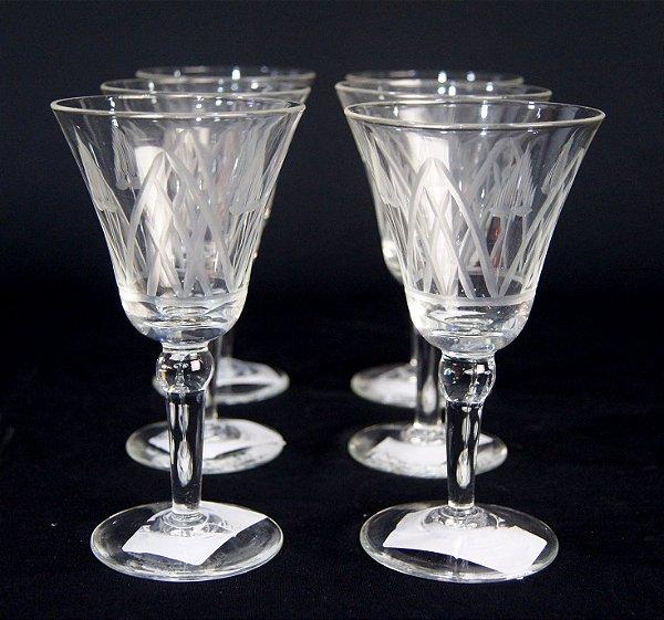Jogo 06 Taças Para Vinho Em Cristal Lapidado a Mão