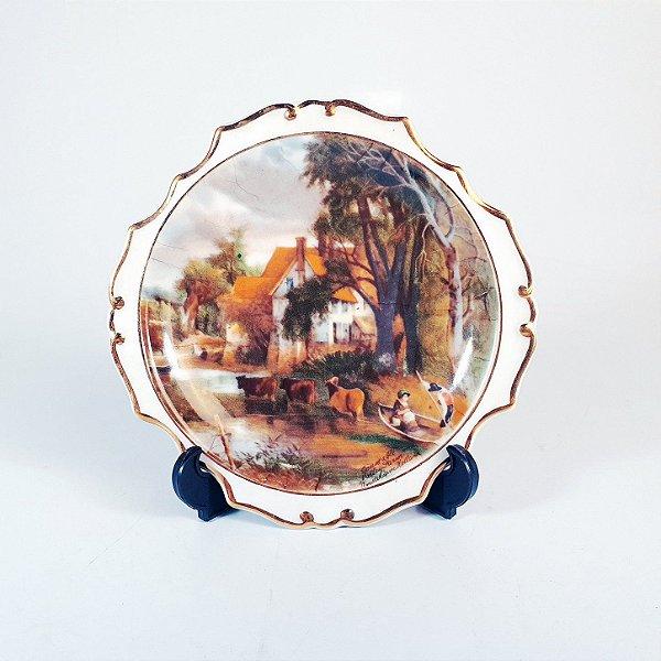 Mini Prato Decorativo em Porcelana Filetado