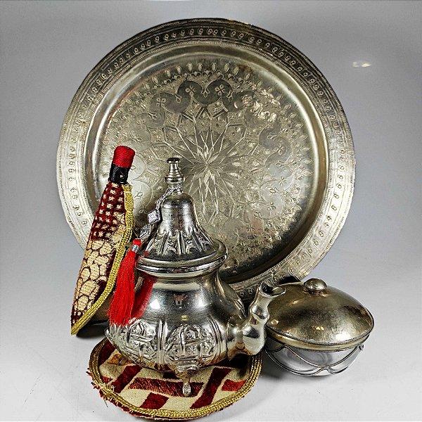 Conjunto Para Chá Indiano 3 Peças em Prata
