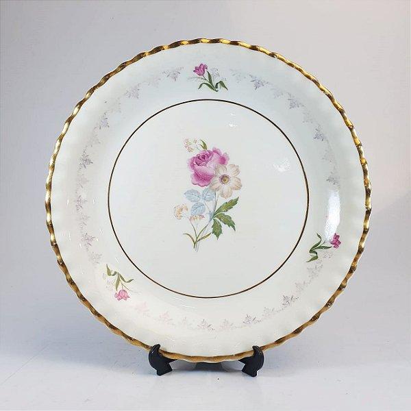 Prato para Bolo em Porcelana Steatita Floral