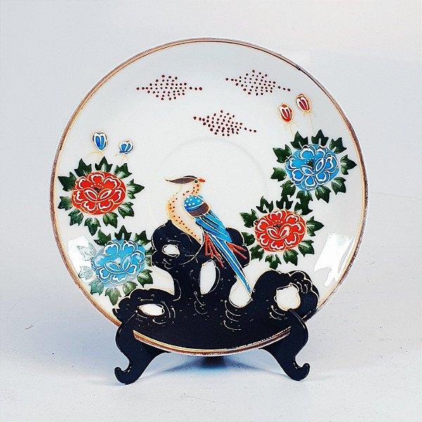 Prato Decorativo em Porcelana Japonesa Pintado a Mão