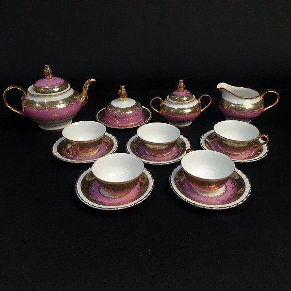 Jogo de Chá Em Porcelana Steatita Rosa e Dourado