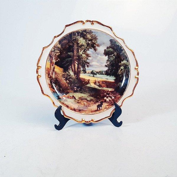 Prato Decorativo em Porcelana Filetada em Ouro