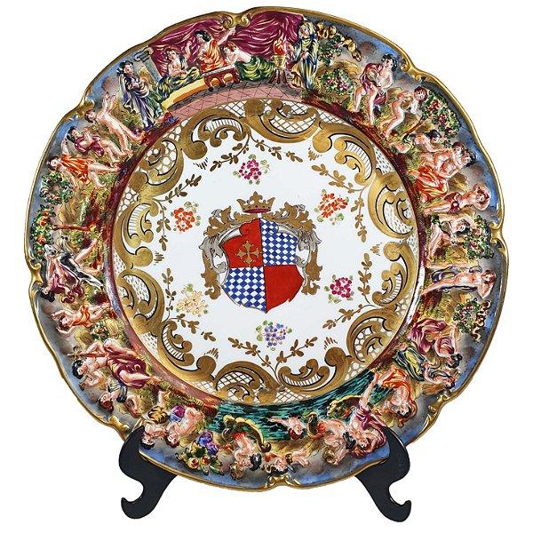 Prato Em Porcelana Capodimonte Séc XIX