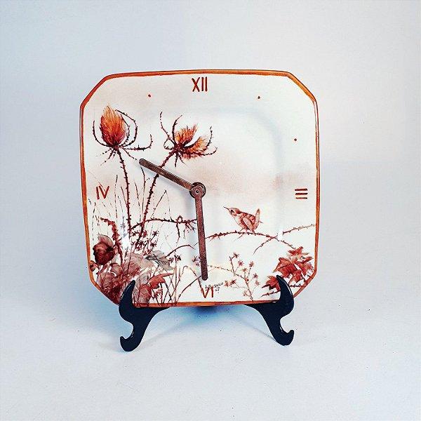 Prato Relógio em Porcelana Schmidt Pássaro