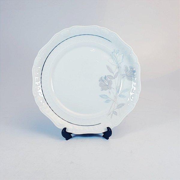 Prato de Sobremesa em Porcelana Germer Filetado em Prata