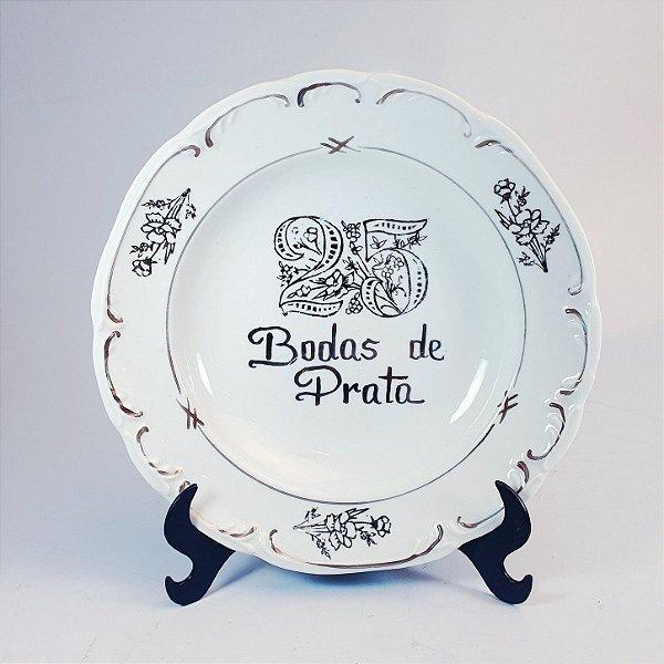 Prato Fundo em Porcelana Bodas de Prata