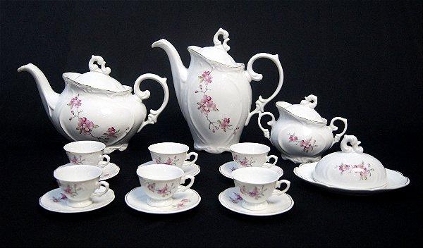 Jogo De Café Em Porcelana Schmidt Motivo Flores