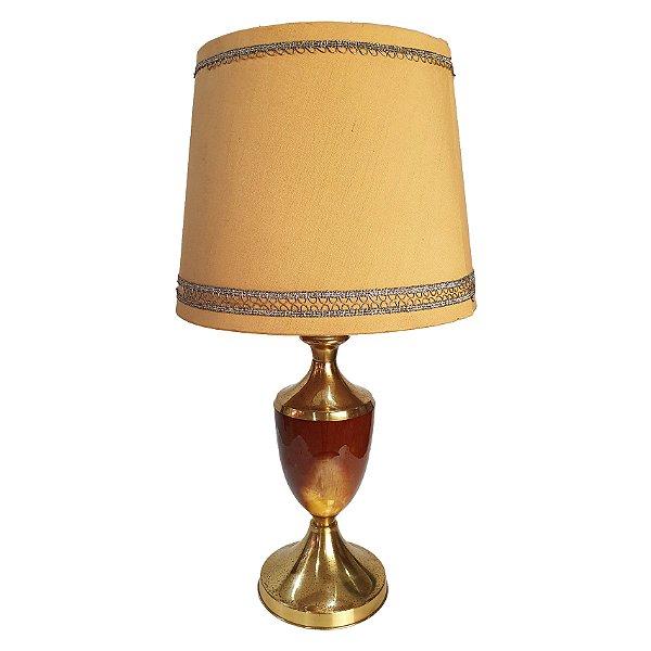 Luminária de Mesa Abajur Dourado em Latão e Cerâmica