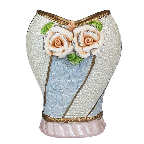 Vaso em Cerâmica Decorado com flores