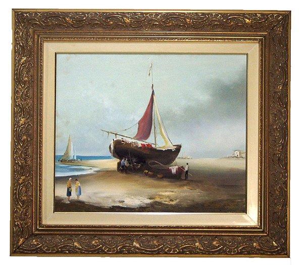 Quadro Pintura a Óleo Barco Em Reparo - Ivo Blasi