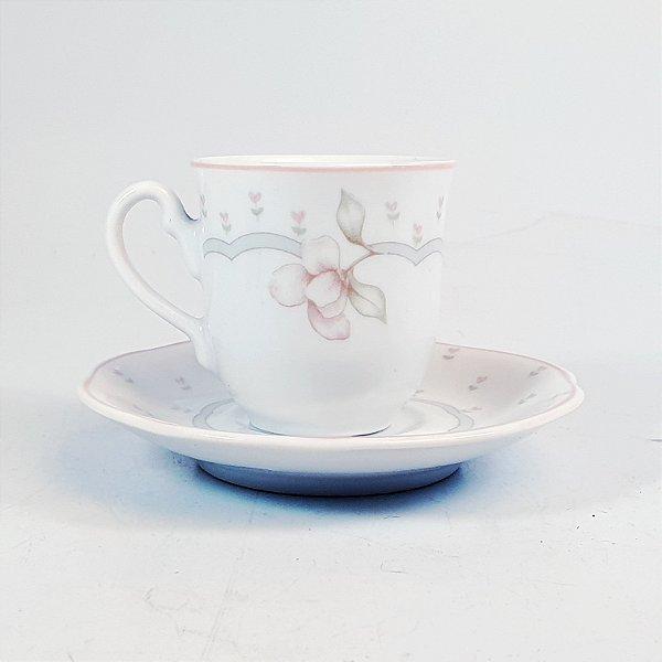 Xícara e Pires para Café em Porcelana Germer Decorado