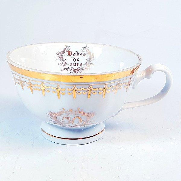 Xícara para Chá em Porcelana Germer Bodas de Ouro