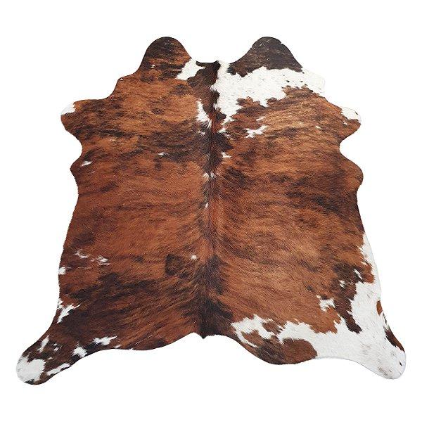 Tapete De Couro Pele Natural Marrom E Branco 1,60