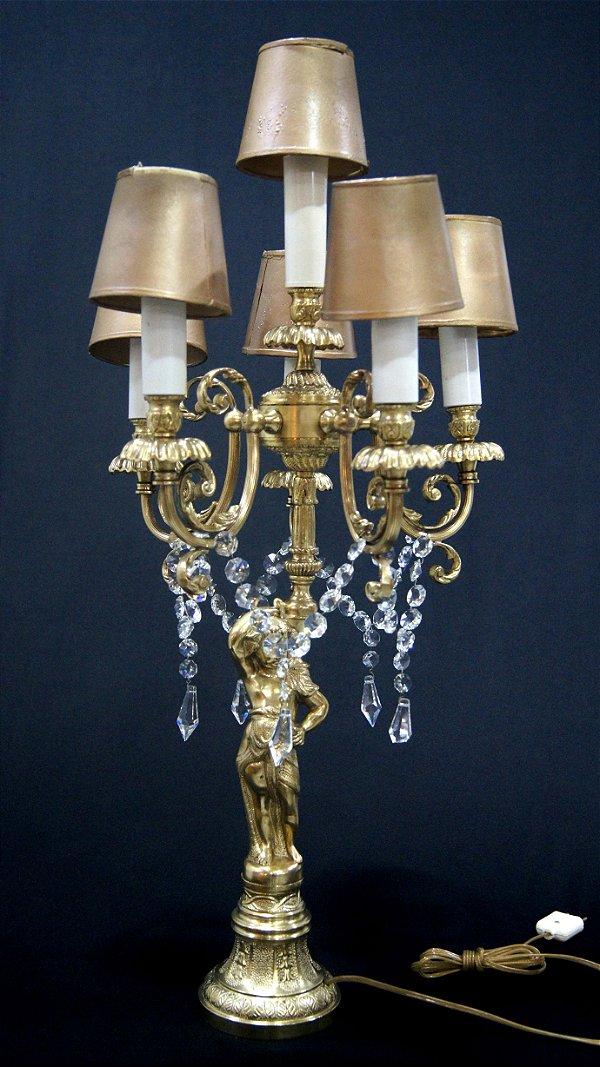 Luminária de Mesa Imperial em Bronze e Cristal