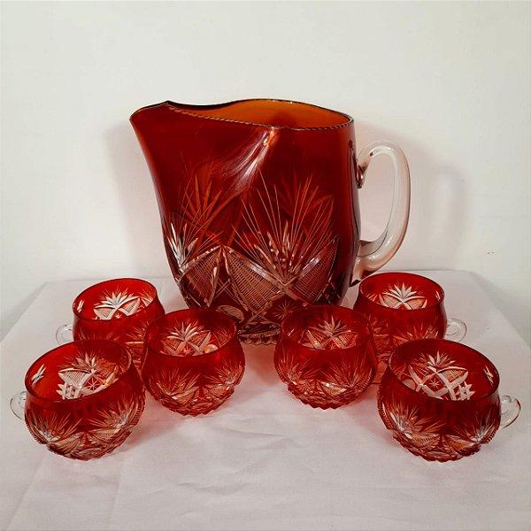 Poncheira Jarra com 6 Xícaras Em Cristal Baccarat Lapidado