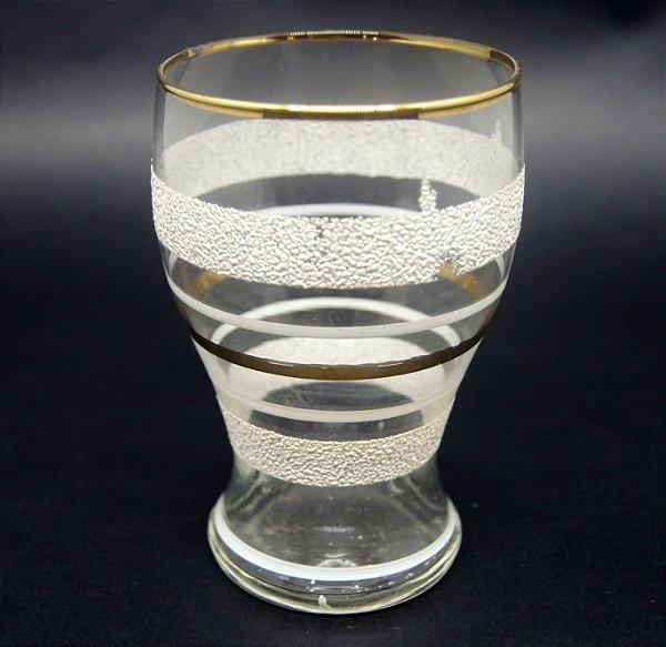 Copo Em Cristal Anos 50 Decorado Dourado E Jato De Areia