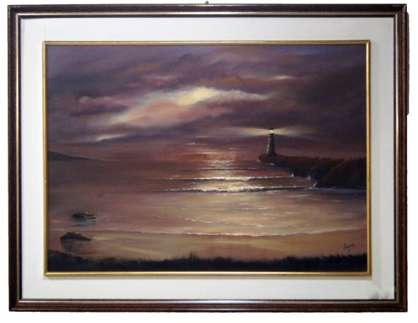 Quadro Pintura a Óleo Praia - Ivany 1986 87x67