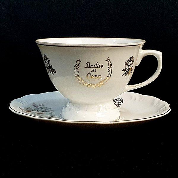 Xícara e Pires para Chá em Porcelana Schmidt Bodas de Ouro