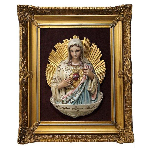 Quadro Nossa Sra. Sagrado Coração em Porcelana Pintado a Mão c/ Moldura Importada