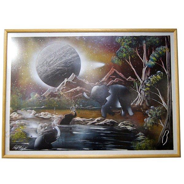 Quadro Pintura Feita Com Spray 60x68cm